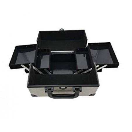 KosmetikkofferKosmetikkoffer mit 3 Ebenen (Beidseitig) L (Weiß/Schwarz) - mit Schloß