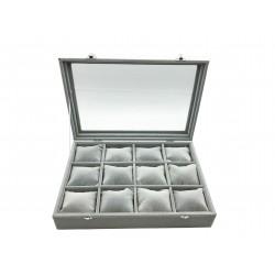 Details zu  Schmuck Uhren Aufbewahrungsbox Glasfenster Display Schmuckladen 35x25 cm Grau