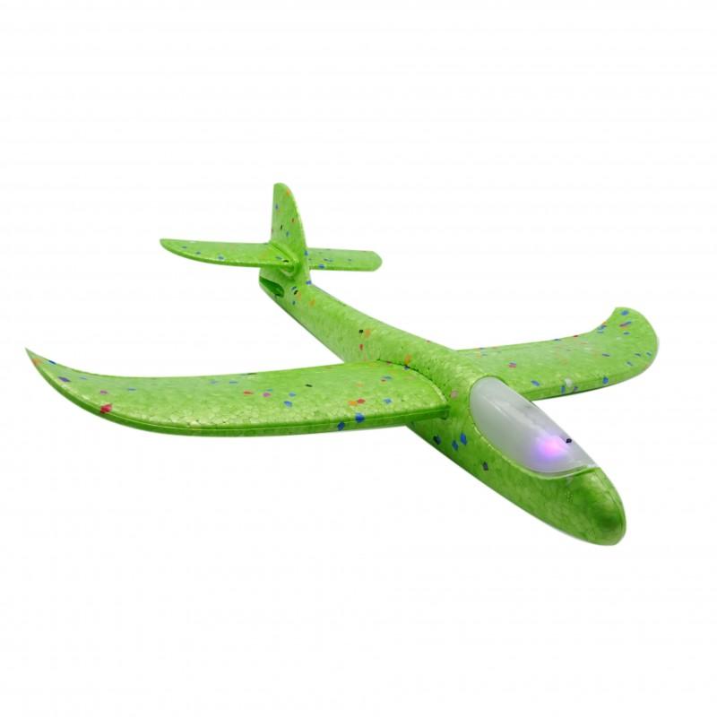 Wurfgleiter 38 cm mit LED Flugzeug Outdoor Wurf Flieger Segelflugzeug Gleitflugzeug Styroporflieger