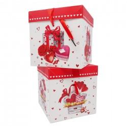 Geschenk Box Verpackung Karton 22x22x22 cm Herzen Rosen Valentinstag