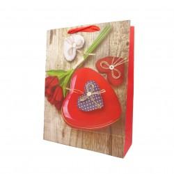 4er Set Present Tüten Geschenktüten Geschenk Geburtstag Herz Rose Rot 19x8x23 cm