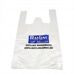 100x Rayline Taschen - Plastik Beutel Plastiktüten Einkaufstüten Markt 50x32 cm, durchsichtig mit Aufdruck, bis zu 10kg