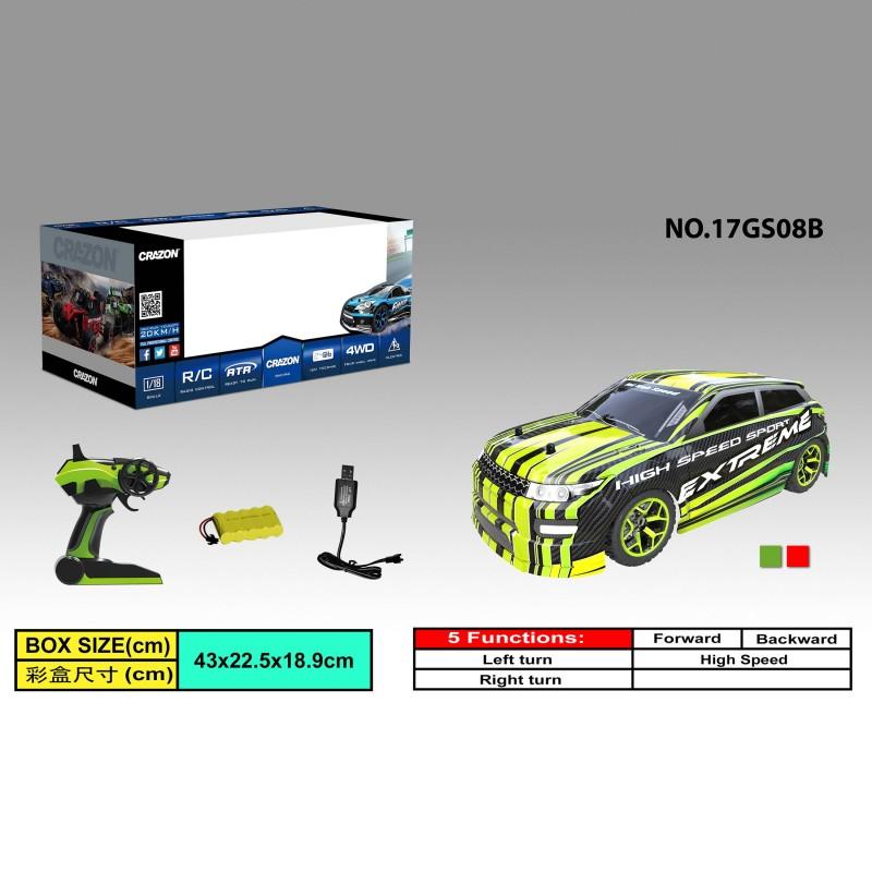 RC Auto Car 17GS08 High Speed Car Fernbedienung 2.4GHz 4WD 1:18
